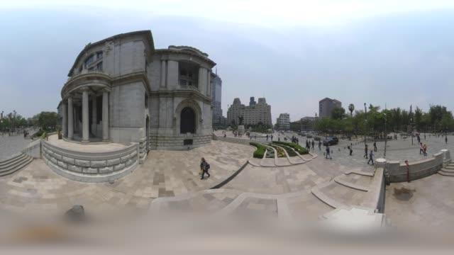 vídeos de stock e filmes b-roll de palacio de bellas artes in mexico city downtown - panorama equiretangular