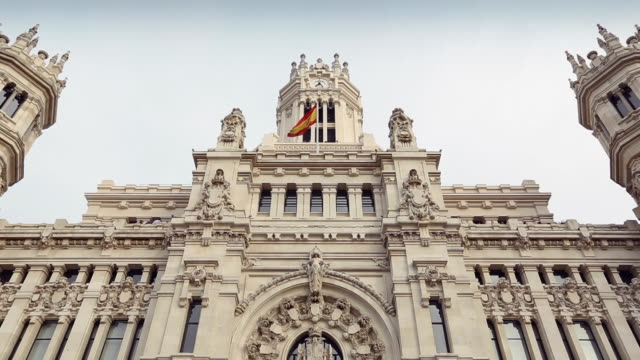 palacio de comunicaciones at plaza cibeles, madrid, spain - palace stock videos & royalty-free footage