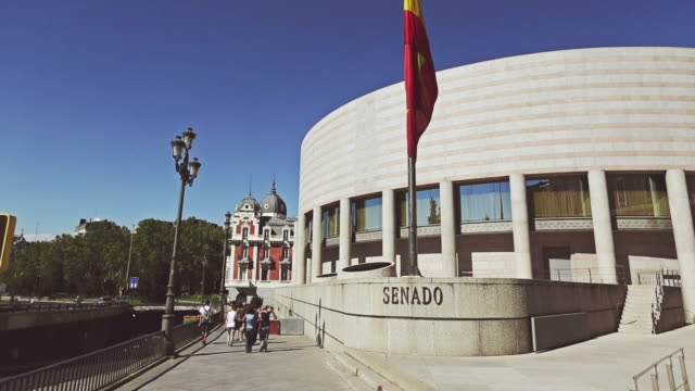 palacio del senado or senate office building in madrid - senate stock videos & royalty-free footage