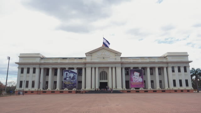 Palacio Nacional de Cultura in Managua (National Palace of Culture). Nicaragua capital. Editorial 4K content video. Establishing shot about zika virus and government elections with Daniel Ortega FSLN Sandinista president.