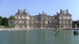 Palais du Luxembourg with Fountain in Paris, France