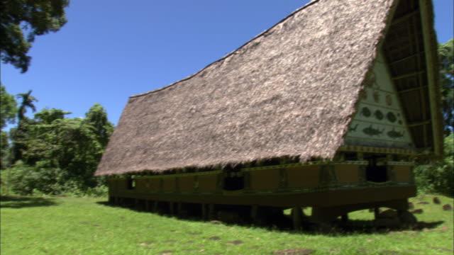 vídeos de stock e filmes b-roll de a palau cultural house features a thatch roof and foundation on stilts - telhado de palha