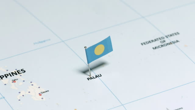 palau with national flag - palau stock videos & royalty-free footage