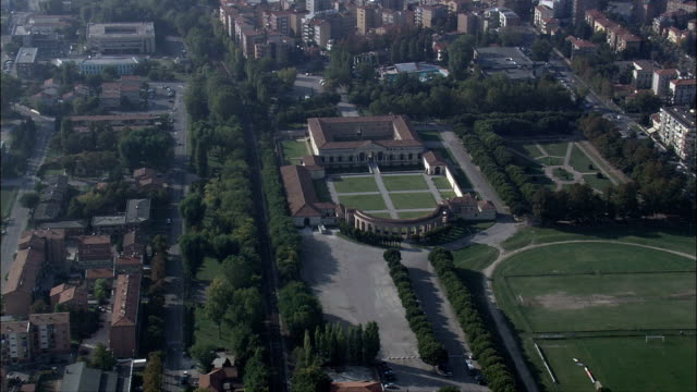 palazzo del te  - aerial view - lombardy, province of mantua, mantova, italy - palace stock videos & royalty-free footage