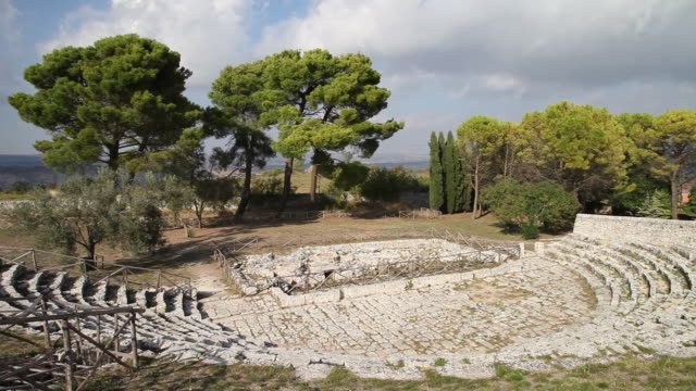 palazzolo acreide, view of the greek theater, 3rd century b.c. - 3rd century bc stock videos & royalty-free footage