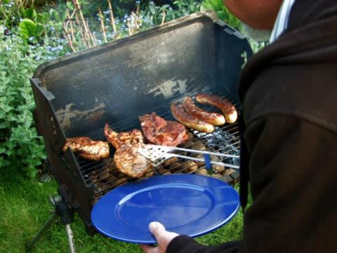 pal: barbecue grill - pollo alla brace video stock e b–roll