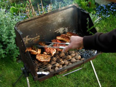pal: barbecue - pollo ai ferri video stock e b–roll