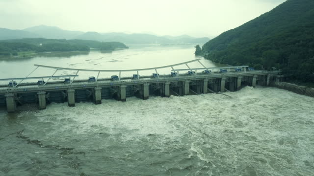 paldang dam discharging, namyangju, gyeonggi province, south korea - kyonggi do province stock videos and b-roll footage