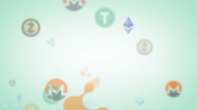 pale looping assorted cryptocurrencies animated graphic - loopable elements stock videos & royalty-free footage