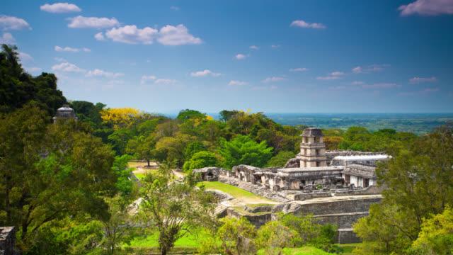 vídeos de stock, filmes e b-roll de intervalo de tempo: palenque ruínas maias - yucatán