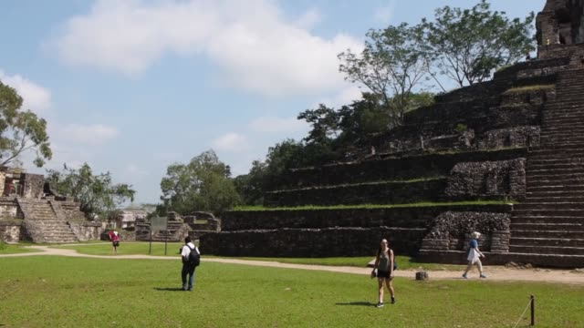 palenque mexico mayan pyramids - palenque stock-videos und b-roll-filmmaterial