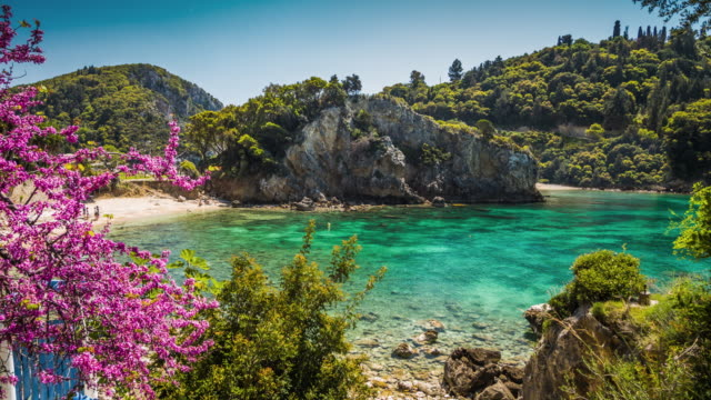 paleokastritsa bay on corfu island, greece - mediterranean culture stock videos & royalty-free footage