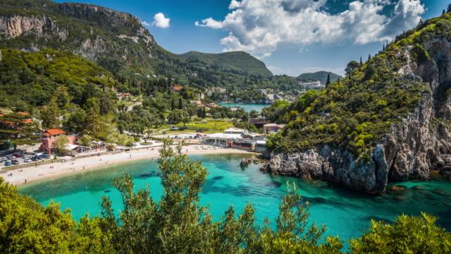 paleokastritsa, corfu island, greece - idyllic stock videos & royalty-free footage