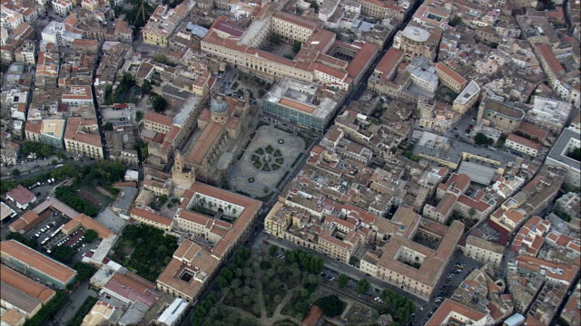 palermo cathedral  - aerial view - sicily, province of palermo, palermo, italy - sicily stock videos & royalty-free footage
