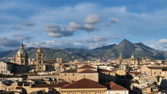 palermo in the morning with church cupolas - dome stock videos & royalty-free footage