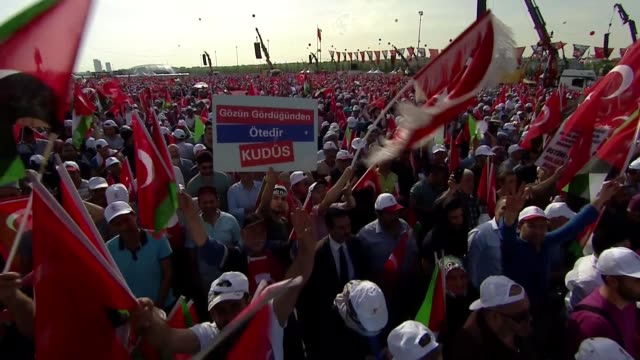 "palestine cause is the cause of our nation"" said turkish prime minister binali yildirim on may 18 2018 speaking at the mass rally held in istanbul's... - minister president stock videos and b-roll footage"