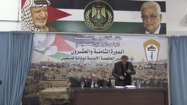 Palestine Central Council chairman Salim AlZa'noun reads the final statement at the end of a meeting of the Palestinian Central Council in Ramallah...