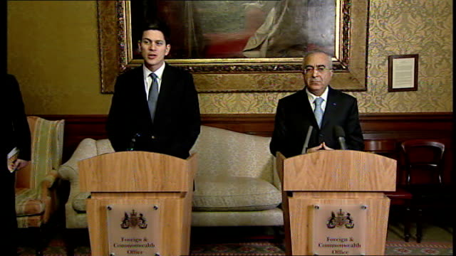 david miliband and salam fayyad press conference england london king charles street foreign and commonwealth office int david miliband mp press... - david miliband stock videos & royalty-free footage