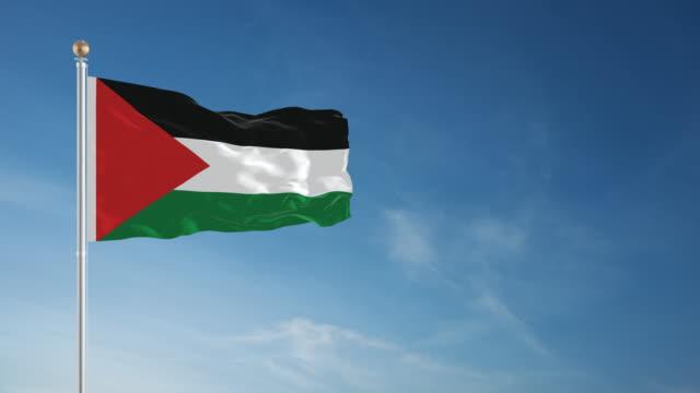 4 k パレスチナフラグ-ループ - パレスチナ文化点の映像素材/bロール
