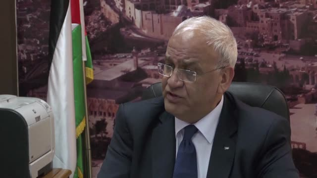 palestine liberation organisation senior official saeb erekat blames israels prime minister for nearly two months of deadly unrest on the eve of key... - palestine liberation organisation stock videos & royalty-free footage