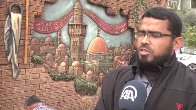 palestinian artists paint reliefs of dome of the rock and alaqsa mosque on the walls of a school to protest against approval of the proposed adhan... - al aqsa mosque stock videos and b-roll footage