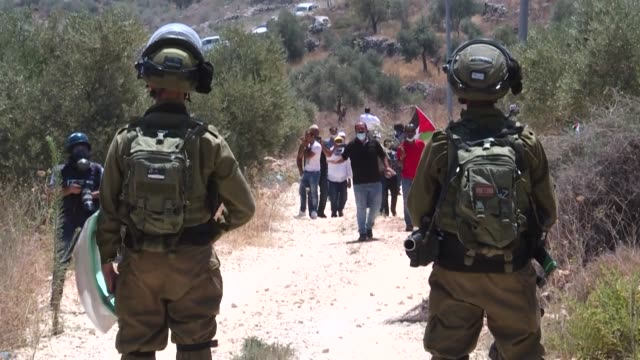 palestinian demonstrators clash with israeli forces during a demonstration against jewish settlements and israel's planned annexation of parts of the... - west bank stock videos & royalty-free footage