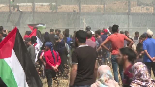 stockvideo's en b-roll-footage met palestinian demonstrators gather on the gaza israeli border for a protest marking the 71st anniversary of nakba also known as day of the catastrophe... - israëlisch palestijns conflict