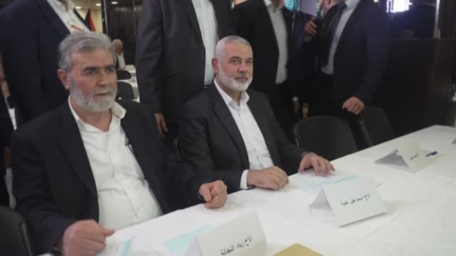 palestinian factions meet in lebanon in a rare public show of unity to underline their rejection of the us-backed normalisation between israel and... - palestinian stock videos & royalty-free footage