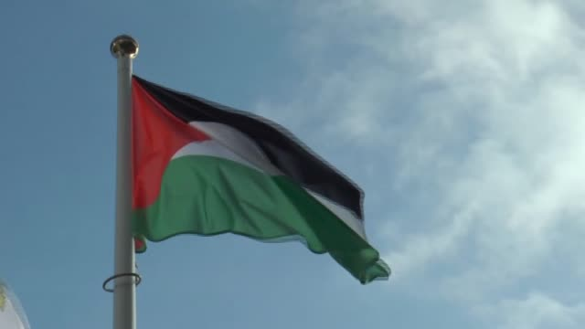 palestinian flag is raised in front of the united nations office in vienna austria on october 12 2015 palestinian foreign minister riyad almaliki... - palestinian flag stock videos & royalty-free footage