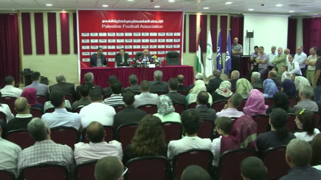 stockvideo's en b-roll-footage met palestinian football chief jibril rajoub gave a press conference in ramallah on tuesday to explain why he withdrew his associations bid to have fifa... - bod
