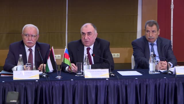palestinian foreign minister riyad al-maliki and his azerbaijani counterpart elmar mammadyarov attend the conference of the ambassadors of the state... - ambassador stock videos & royalty-free footage
