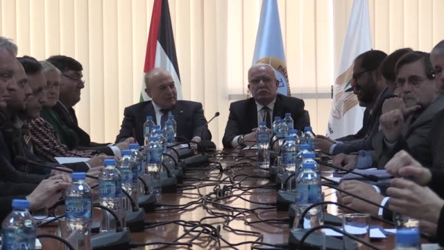 palestinian foreign minister riyad al-maliki meets with eu diplomats in ramallah, west bank on february 21, 2019. - ambassador stock videos & royalty-free footage