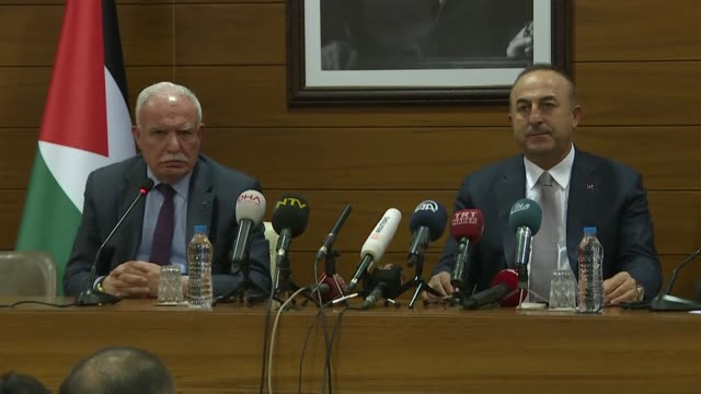 Palestinian Foreign Minister Riyad alMaliki speaks at a joint press conference with his Turkish counterpart Mevlut Cavusoglu before flying to New...