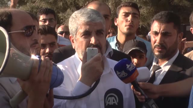 palestinian hamas leader khaled mashal attends the funeral ceremony of his mother in amman jordan on september 04 2016 - hamas stock videos & royalty-free footage