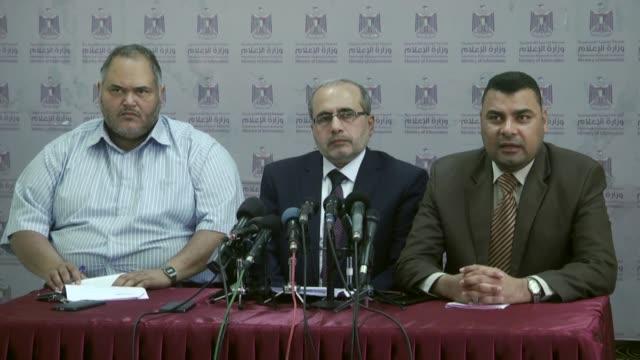 Palestinian Health Ministry spokesman Ashraf alQidra and director of hospitals at the Health Ministry in Gaza Abdullatif alHaj speak at a press...