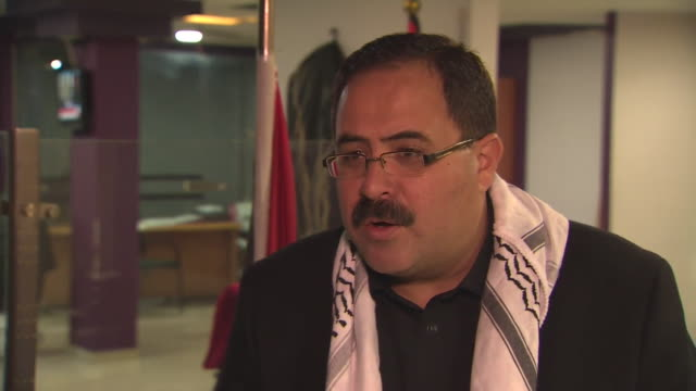 palestinian minister sabri saidam saying donald trump's endorsement of jerusalem as israel's capital is an affirmation of bias towards israel - representing stock videos and b-roll footage