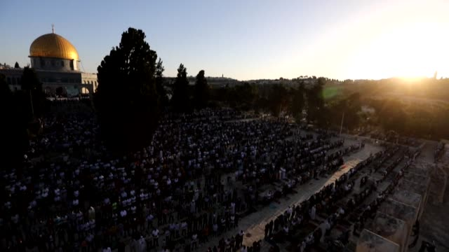 ISR: Muslim worshippers take part in Eid al-Adha prayer in Jerusalem's al-Aqsa