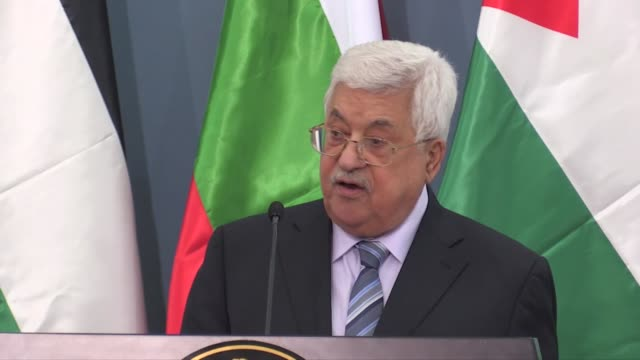 palestinian president mahmoud abbas and bulgarian president rumen radev attend a joint press conference after their meeting in ramallah west bank on... - ramallah stock videos and b-roll footage