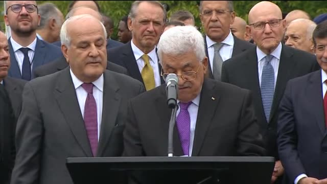 palestinian president mahmoud abbas and un secretarygeneral ban kimoon speak during a ceremony to raise the palestinian flag for the first time at... - palestinian flag stock videos & royalty-free footage