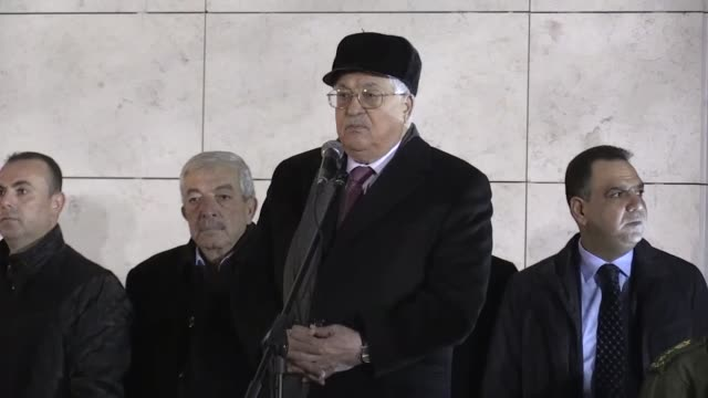 Palestinian President Mahmoud Abbas attends a ceremony to mark the 53rd anniversary of Fatah's official founding at the mausoleum for late...
