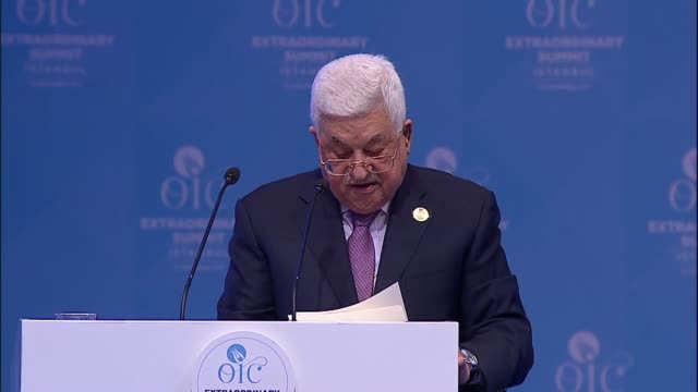 Palestinian President Mahmoud Abbas delivers a speech at the Extraordinary Session of the Organisation of Islamic Cooperation Islamic Summit...