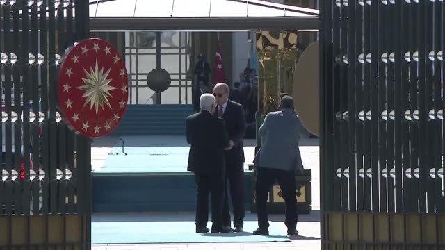 Palestinian President Mahmoud Abbas is welcomed by his Turkish counterpart Recep Tayyip Erdogan with an official welcoming ceremony at Presidential...