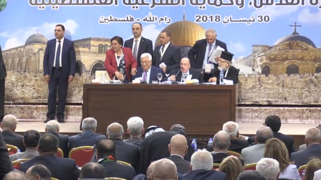 palestinian president mahmoud abbas was re-elected as chairman of the executive committee of the palestine liberation organisation during the... - palestine liberation organisation stock videos & royalty-free footage
