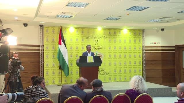 vídeos de stock, filmes e b-roll de palestinian president mahmoud abbas's fatah movement will go ahead with a rare congress despite israel preventing dozens of delegates leaving the... - ramallah