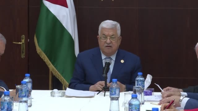 palestinian president mahmud abbas chairs a meeting of the executive committee of the palestine liberation organisation meeting in ramallah in the... - palestine liberation organisation stock videos & royalty-free footage