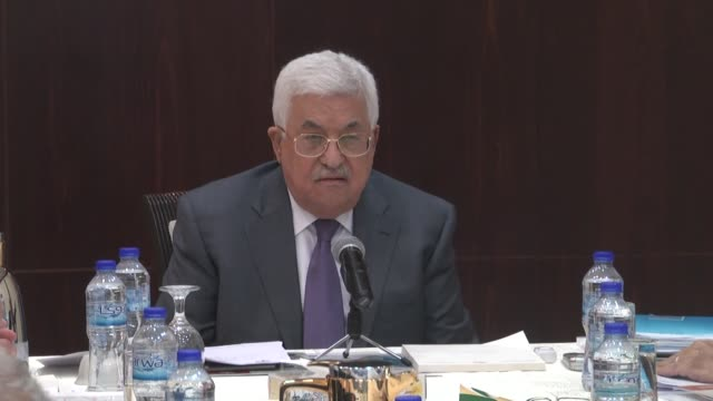 Palestinian president Mahmud Abbas chairs a meeting of the Executive Committee of the Palestinian Liberation Organization in the West Bank city of...