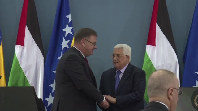 palestinian president mahmud abbas met his counterpart from bosnia and herzegovina at the presidential palace in ramallah on thursday to discuss... - ramallah stock videos and b-roll footage
