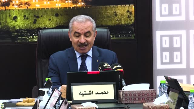 palestinian prime minister mohammad shtayyeh calls on un chief antonio guterres to include israel in the black list of countries violating the rights... - add list stock videos & royalty-free footage
