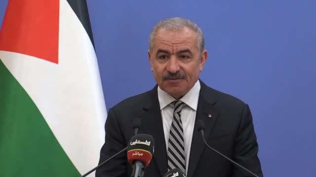 palestinian prime minister mohammad shtayyeh slammed on august 17, 2020 the new agreement between the united arab emirates and israel to normalize... - prime minister stock-videos und b-roll-filmmaterial