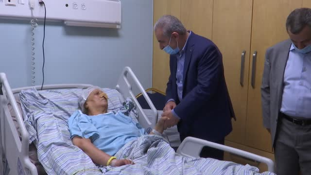palestinian prime minister mohammad shtayyeh visited al-ghadanfar abu atwan, who was released from israeli jail after 65 day of hunger strike, in... - israel stock videos & royalty-free footage